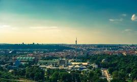 Aerial view of Vystaviste in Prague stock image