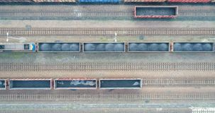 Aerial view on wagons with black coal. Coal transportation stock video