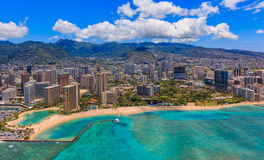 Aerial view of Waikiki Beach in Honolulu Hawaii. From a helicopter Stock Image