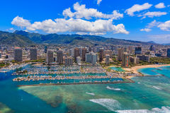 Aerial view of Waikiki Beach in Honolulu Hawaii. From a helicopter Royalty Free Stock Photos