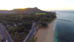 Aerial view of Waikiki Beach and Diamond Head in Honolulu, Hawaii stock footage