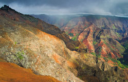 Aerial view into Waimea Canyon, also known as the Grand Canyon o. F the Pacific on the island of Kauai, Hawaii royalty free stock photo