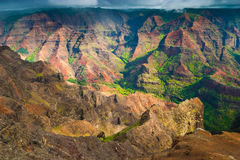Aerial view into Waimea Canyon, also known as the Grand Canyon o royalty free stock images