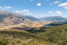 Aerial view of Wairau river in Marlborough region, New Zealand stock photo
