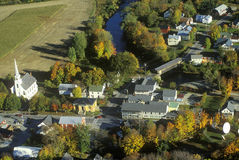 Aerial view of Waitsfield VT and the Mad River on Scenic Route 100 in Autumn Stock Photos