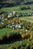Aerial view of Waitsfield VT and the Mad River on Scenic Route 100 in Autumn Stock Images