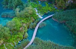 Aerial view with walking path in Plitvice Stock Photography