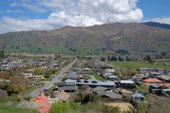 Aerial view of Wanaka town houses and homes in New Zealand royalty free stock photo