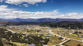 Aerial view of Wanaka town on New Zealand. stock images