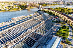 Aerial view of Wards Island Wastewater Treatment Plant in NY. Aerial view of Wards Island Wastewater Treatment Plant in New York City Royalty Free Stock Image