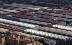 Aerial view of warehouses Stock Images