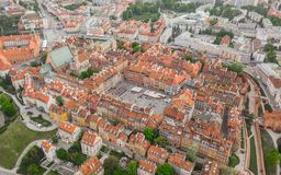 Aerial view of Warsaw. Old part of city royalty free stock photography