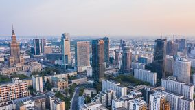 Aerial view of Warsaw downtown. During dusk royalty free stock photography