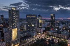 Aerial view of Warsaw Financial Center at night. Poland royalty free stock photo