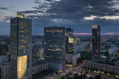 Aerial view of  Warsaw  Financial Center at night Royalty Free Stock Photo