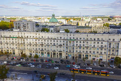 Aerial view of Warsaw and Marszalkowska street Stock Photography