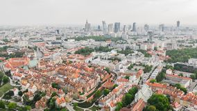 Aerial view of Warsaw. Old town and new modern buildings stock images
