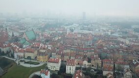 Aerial view of Warsaw stock video footage