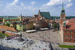 Aerial view of the Warsaw's old town Royalty Free Stock Images