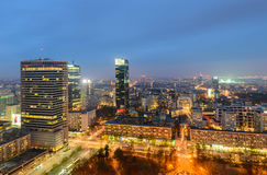 Aerial view of Warsaw in the soft evening light. Royalty Free Stock Photos