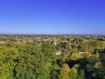 Aerial view of Warwick, Warwickshire, UK stock photo