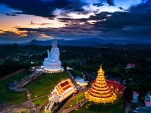 Aerial view of Wat Huay Pla Kang, Chinese temple in Chiang Rai Province, Thailand Royalty Free Stock Photography