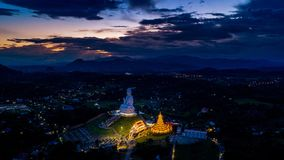 Aerial view of Wat Huay Pla Kang, Chinese temple in Chiang Rai Province, Thailand Stock Photo