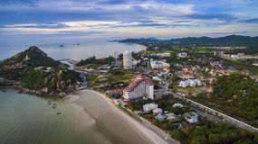 Aerial view of wat khao tao temple at khhua hin beach prachuapkh Stock Images