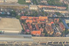 Aerial view of Wat Laksi Temple, Bangkok, Thailand. Nearby Don Muang International Airport Stock Image