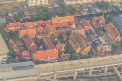 Aerial view of Wat Laksi Temple, Bangkok, Thailand. Nearby Don Muang International Airport Royalty Free Stock Images