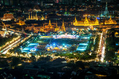 Aerial view of Wat Phra Kaew in night, Bangkok, Thailand. Bangko Royalty Free Stock Photography
