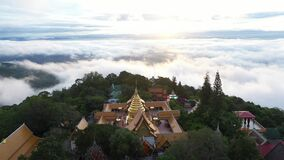 Aerial view at Wat PhraThat Doi Suthep temple on the Clouds with Sunrise in Chiangmai, Thailand.