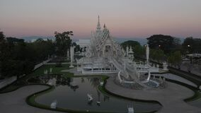 Aerial view Wat Rong Khun famous place in Chiang Rai province, Thailand.