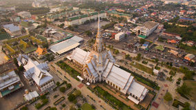 Aerial view of wat sothorn temple in chachengsao province easter. N of thailand important buddhist religion church landmark in thailand Stock Photography