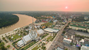 Aerial view of wat sothorn temple in chachengsao province easter. N of thailand important buddhist religion church landmark in thailand Stock Image