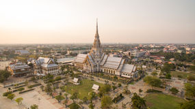 Aerial view of wat sothorn templein chachengsao province eastern. Of thailand important buddhist religion church landmark in thailand Royalty Free Stock Photo