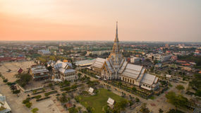 Aerial view of wat sothorn templein chachengsao province eastern. Of thailand important buddhist religion church landmark in thailand royalty free stock image