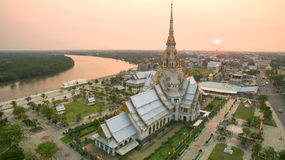 Aerial view of wat sothorn templein chachengsao province eastern. Of thailand important buddhist religion church landmark in thailand Stock Photos