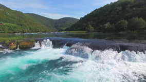 Aerial view of water cascades on Una river in Bosnia stock video