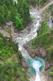 Aerial view of water fall in Schwangau Stock Image