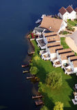 Aerial view of water front houses. An aerial view of luxury water front houses in the UK Stock Image