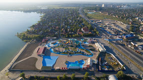 Aerial view of water park from above. Summer Royalty Free Stock Images