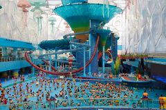 Aerial view of water park, summer time Royalty Free Stock Photo