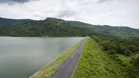 Aerial view of water reservior dam in thailand royalty free stock image