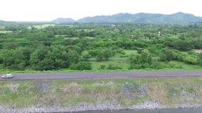 Aerial view of water reservoir lake in nakornnayok Thailand stock video footage