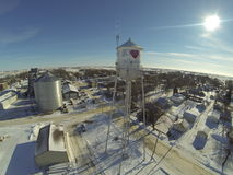Aerial view of water tower in small town Royalty Free Stock Image