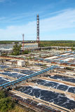 Aerial view of water treatment factory Stock Photography
