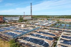 Aerial view of water treatment plant in woods Stock Images