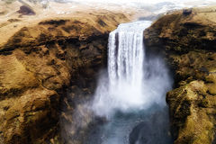 Aerial view waterfall near of famous  Skogar waterfall in Icelan Stock Photography
