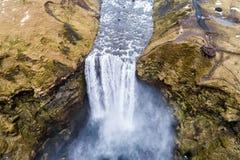 Aerial view waterfall near of famous  Skogar waterfall in Icelan Stock Image
